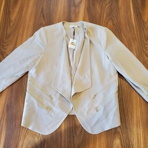 Calvin Klein Tan Blazer with Gold Zippers
